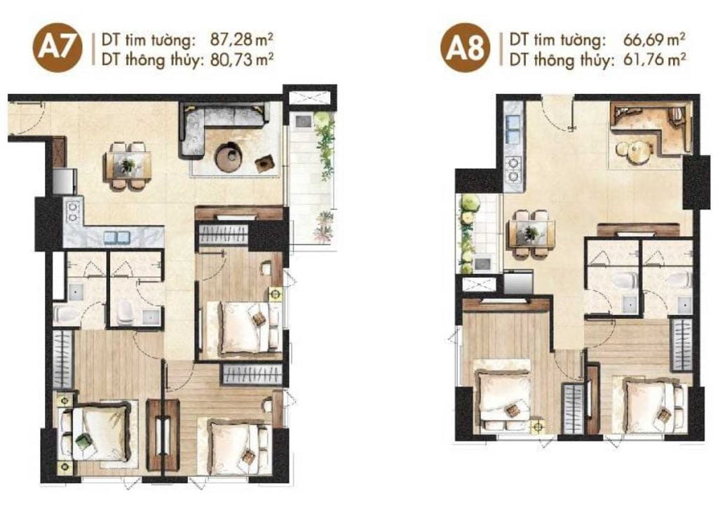 Mặt bằng căn hộ A7, A8
