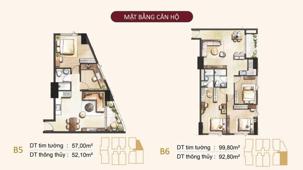 Mặt bằng căn hộ B5, B6