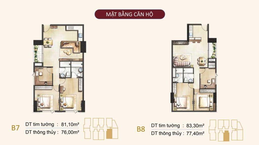 Mặt bằng căn hộ B7, B8