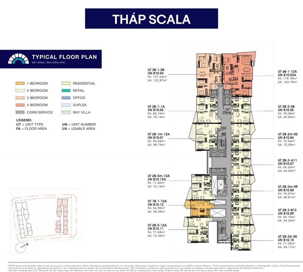 Mặt bằng căn hộ điển hình tháp Scala