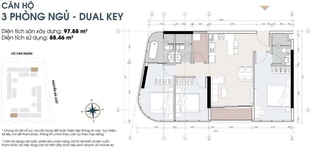 Thiết kế căn hộ 3PN tại dự án cao cấp King Crown Infinity