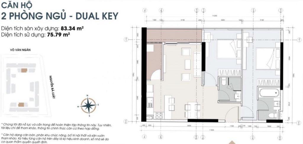 Thiết kế căn hộ 2PN tại dự án cao cấp King Crown Infinity