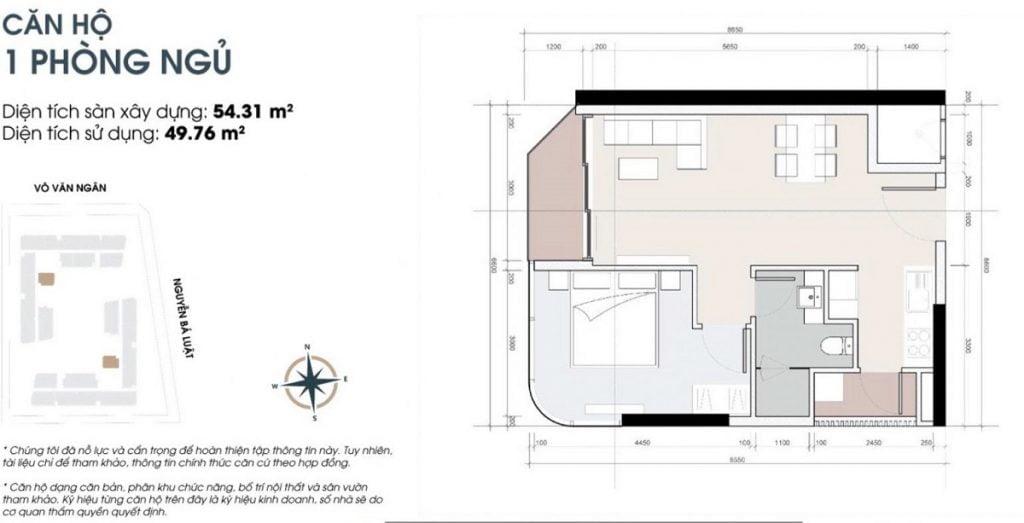 Thiết kế căn hộ 1PN tại dự án cao cấp King Crown Infinity