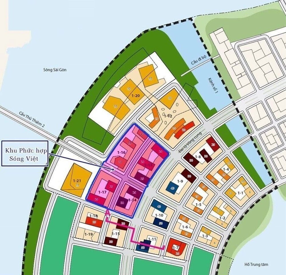 Vị trí phân khu chức năng trong khu đô thị Thủ Thiêm của The Metropole