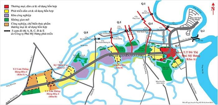 Bản đồ 5 cụm quy hoạch của KĐT Phú Mỹ Hưng