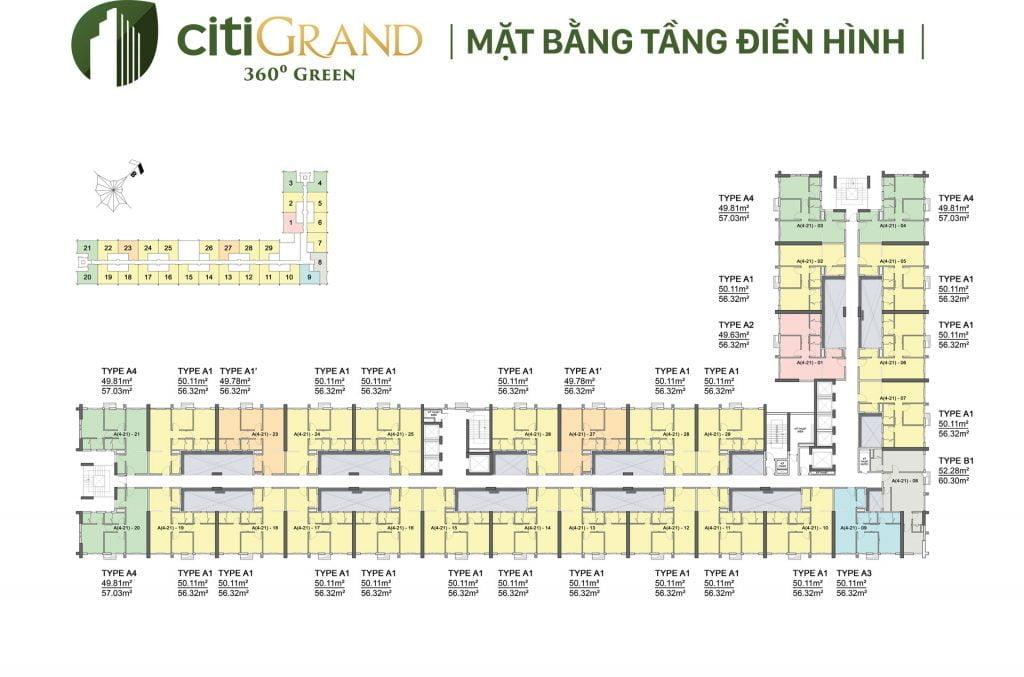 Mặt bằng tầng điển hình căn hộ CitiGrand