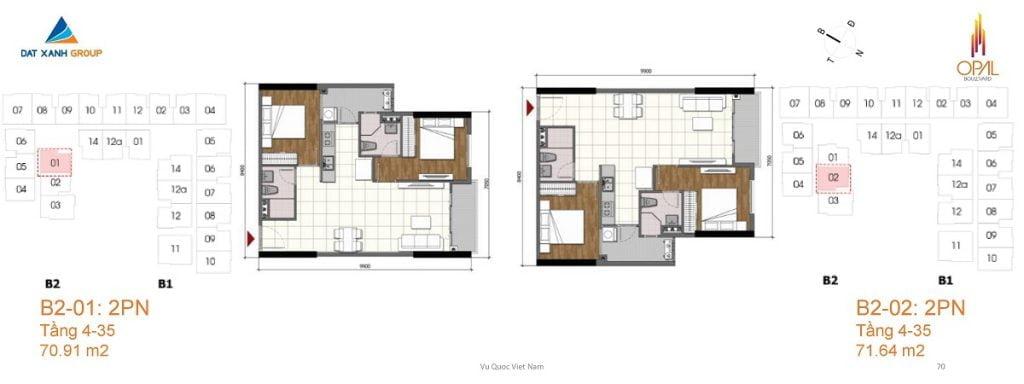 Thiết kế căn hộ 2PN diện tích 71 m2 của Opal Boulevard