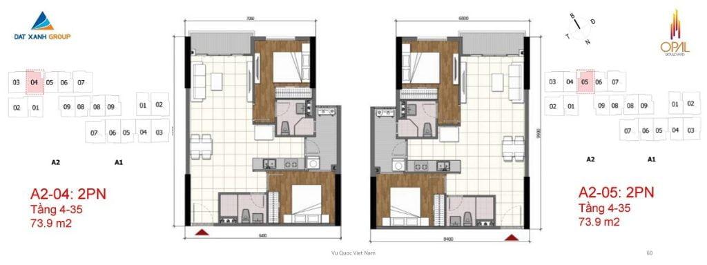 Thiết kế căn hộ 2PN diện tích 73 m2 của Opal Boulevard