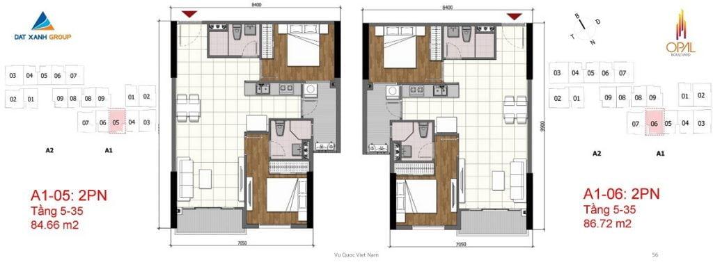 Thiết kế căn hộ 2PN diện tích 86 m2 của Opal Boulevard