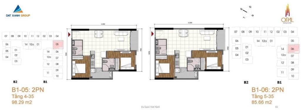 Thiết kế căn hộ 2PN diện tích 98 m2 của Opal Boulevard