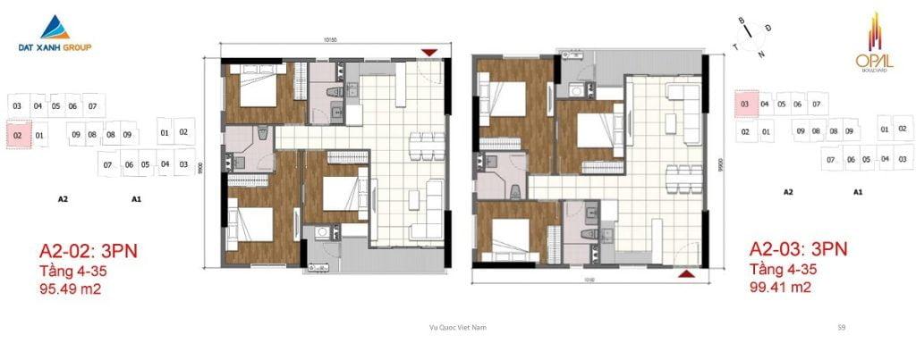 Thiết kế căn hộ 3PN diện tích 99 m2 của Opal Boulevard