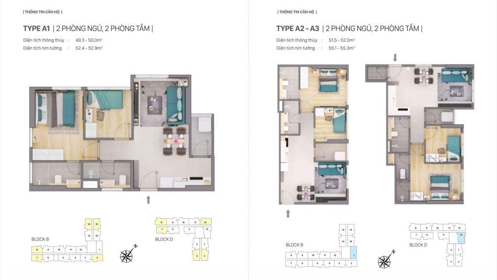 Thiết kế căn hộ loại A1, A2, A3