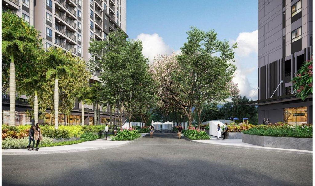 Cây xanh được trồng nhiều theo các lối đi bộ trong dự án Opal Boulevard