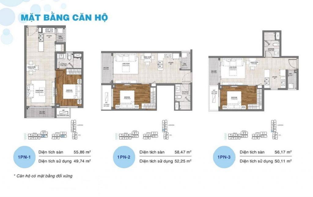 Thiết kế căn hộ 1PN dự án One Verandah Quận 2
