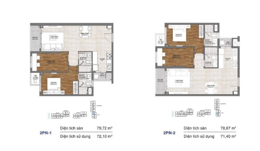 Thiết kế căn hộ 2PN dự án One Verandah