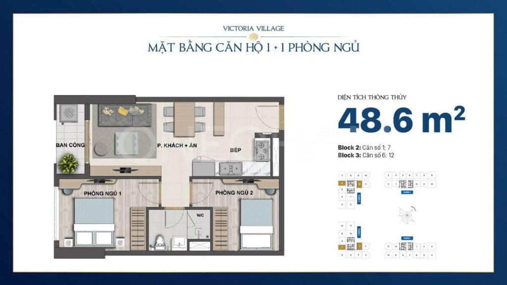Thiết kế căn hộ 1+1PN Victoria Village