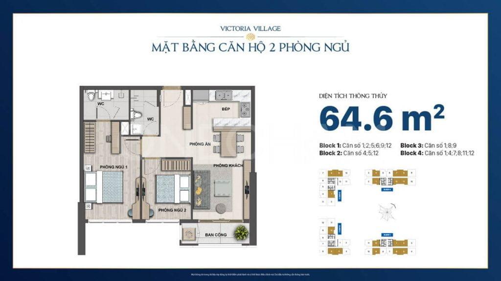 Thiết kế căn hộ 2PN Victoria Village