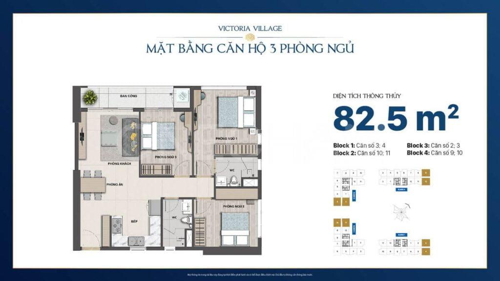 Thiết kế căn hộ 3PN Victoria Village