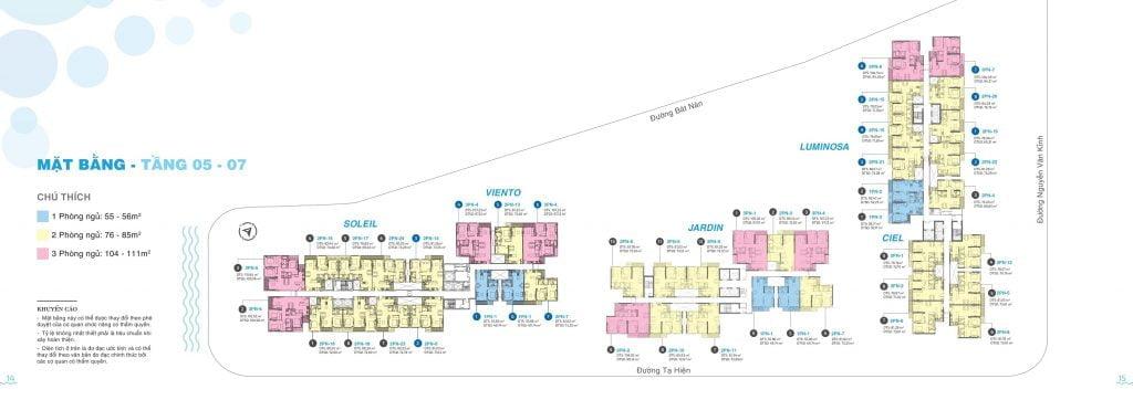 Mặt bằng tầng 5-7 căn hộ One Verandah Quận 2