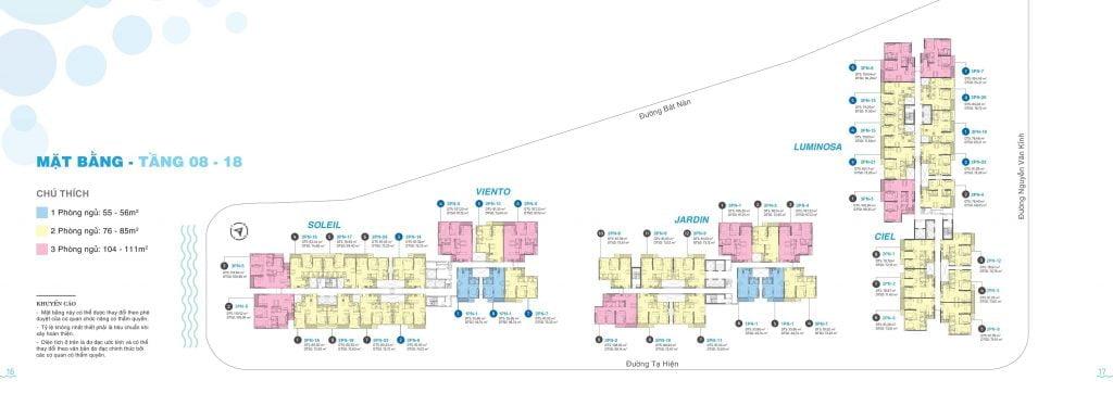 Mặt bằng tầng 8-18 căn hộ One Verandah Quận 2