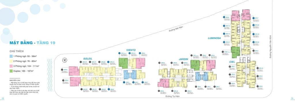 Mặt bằng tầng 19 căn hộ One Verandah Quận 2