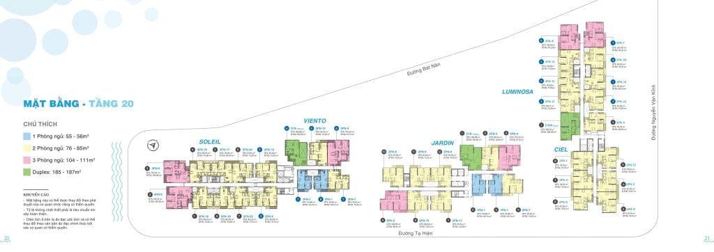 Mặt bằng tầng 20 căn hộ One Verandah Quận 2