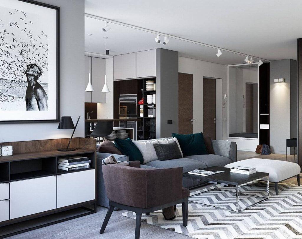 Không gian căn hộ đẹp vô cùng sang trọng với tone màu trắng đen