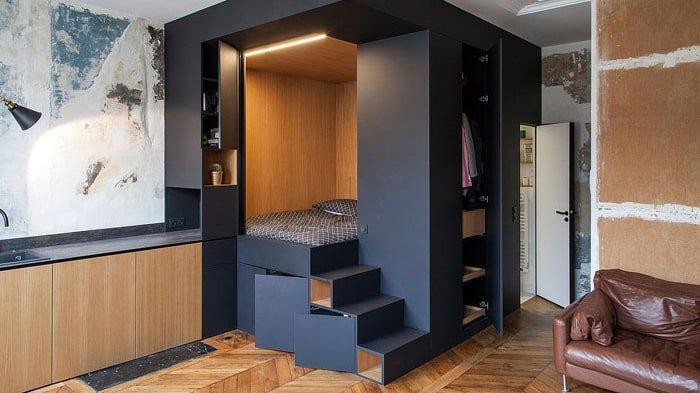 Thiết kế giường ngủ cao hơn mặt bằng chung để tạo không gian lưu trữ