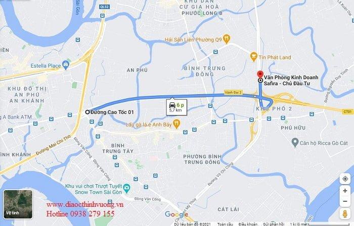 Từ Merosa Khang Điền về đến Mai Chí Thọ, An Phú, Quận 2 chỉ khoảng 6 phút.