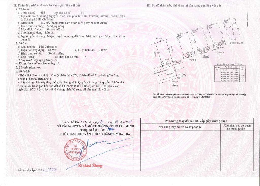 Sổ đã hoàn công tại 52 Nguyễn Xiển