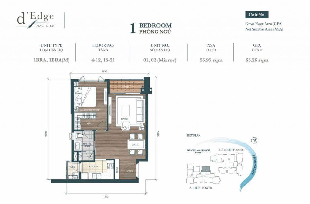 Mẫu căn hộ 1PN mã A