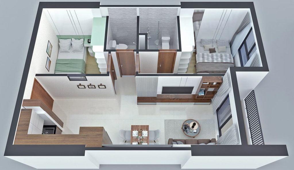 Thiết kế căn hộ A1 Bcons Sala