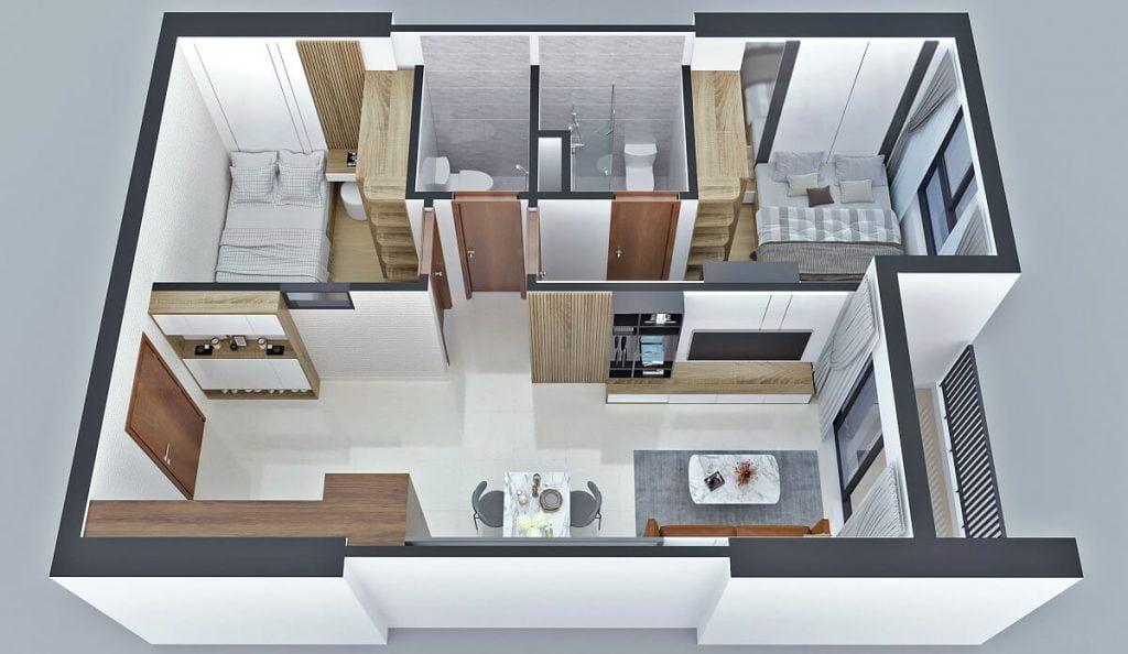Thiết kế căn hộ A2 Bcons Sala