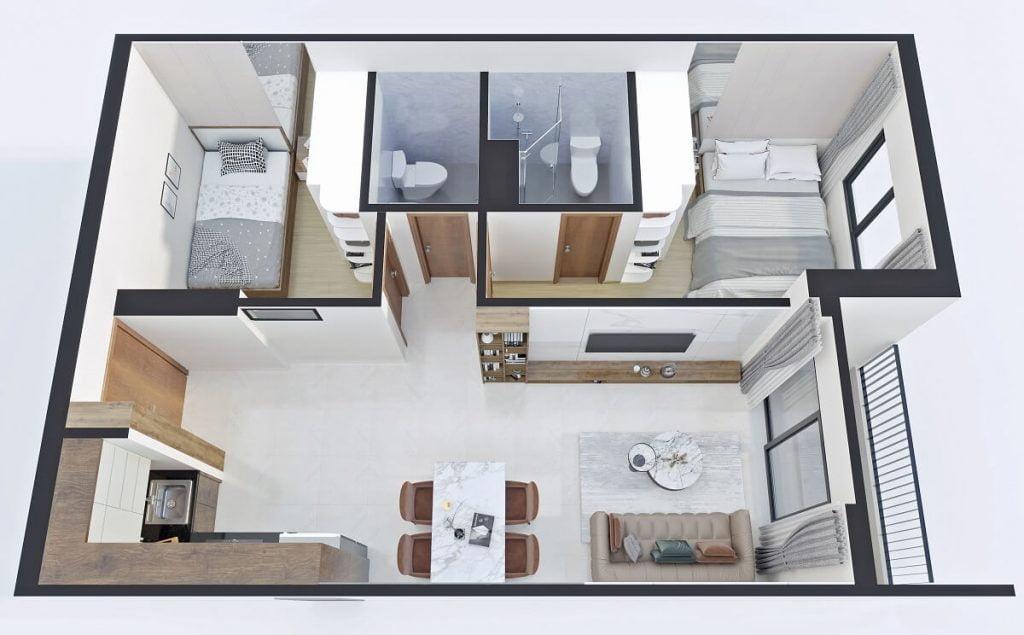 Thiết kế căn hộ A3 Bcons Sala