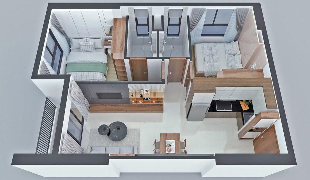 Thiết kế căn hộ B1 Bcons Sala