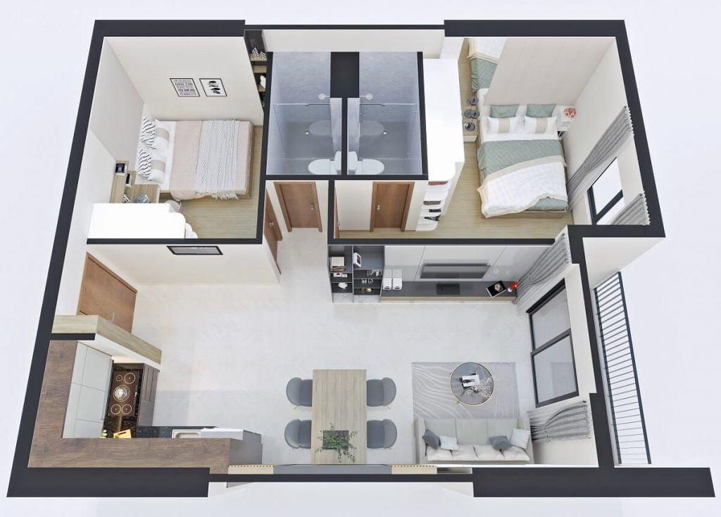 Thiết kế căn hộ B2 Bcons Sala