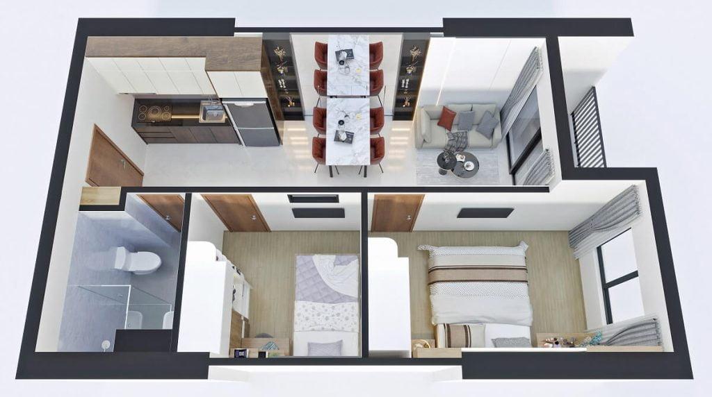Thiết kế căn hộ C Bcons Sala