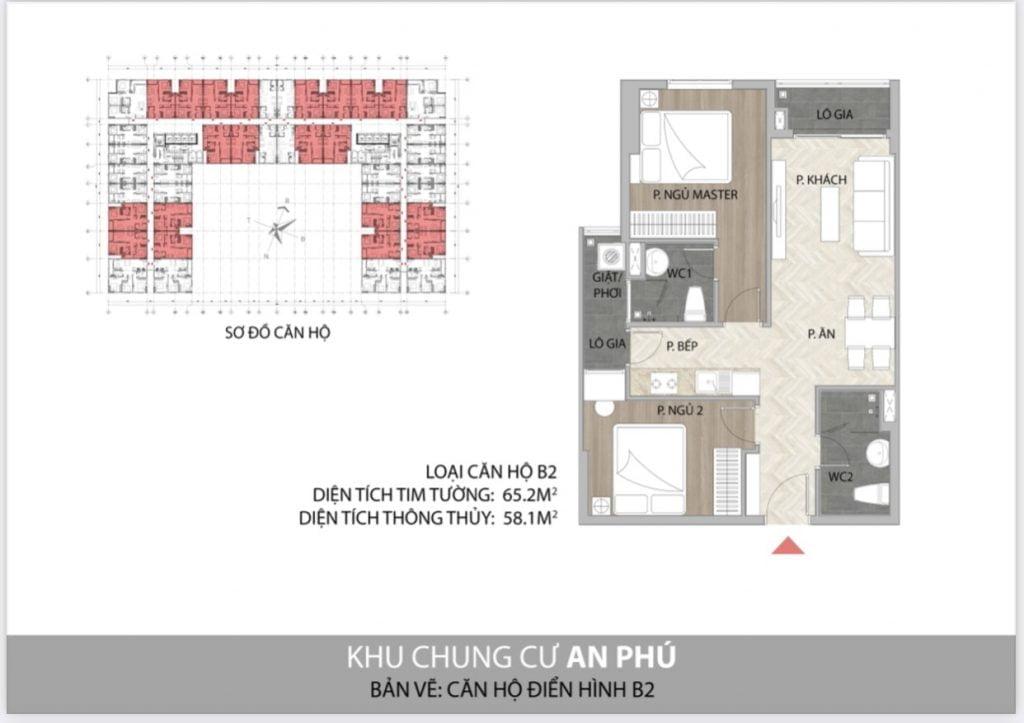 Thiết kế căn hộ 2PN B2 Felice Homes