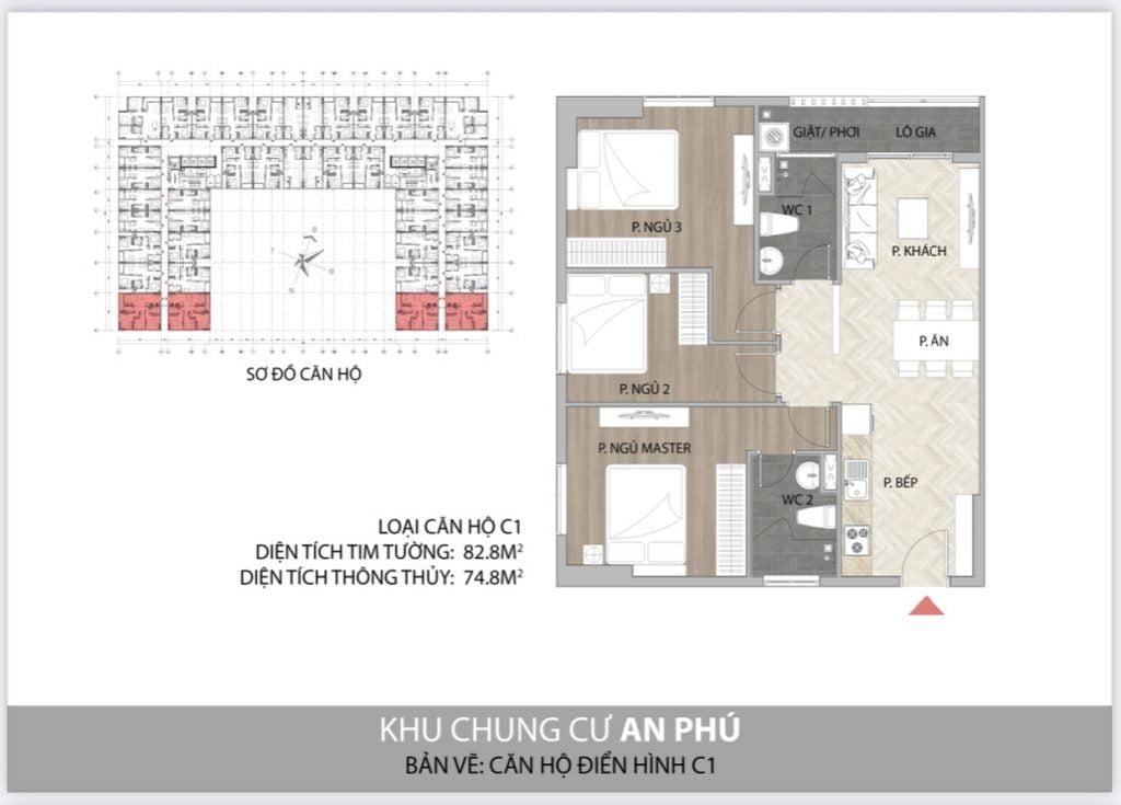 Thiết kế căn hộ 3PN C1 Felice Homes