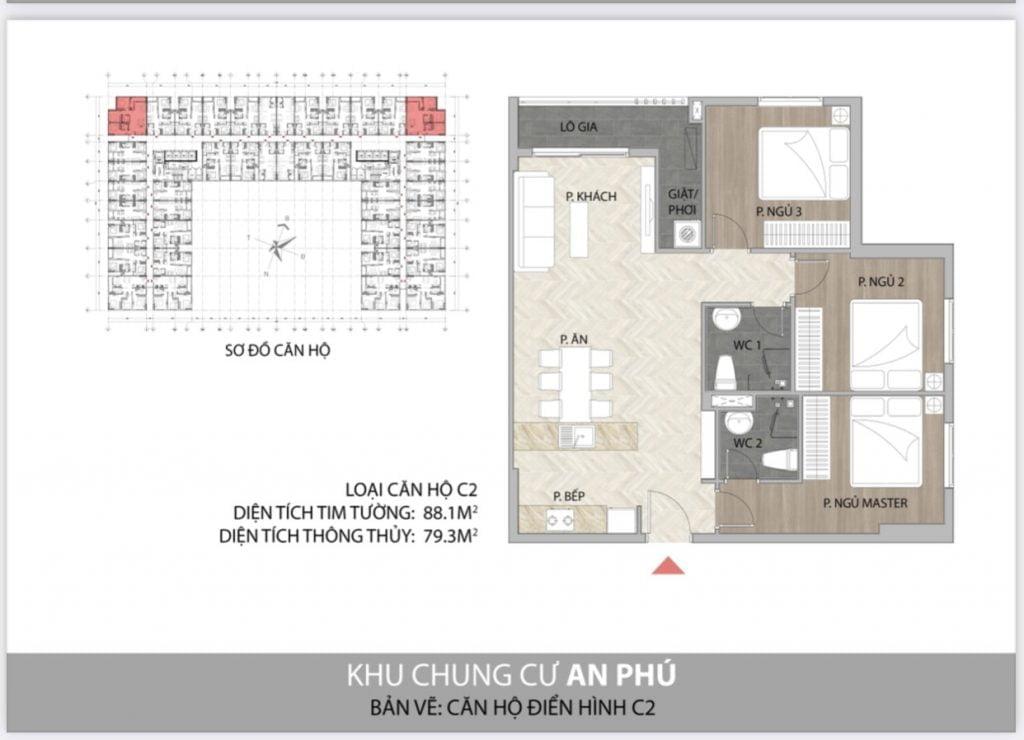 Thiết kế căn hộ 3PN C2 Felice Homes