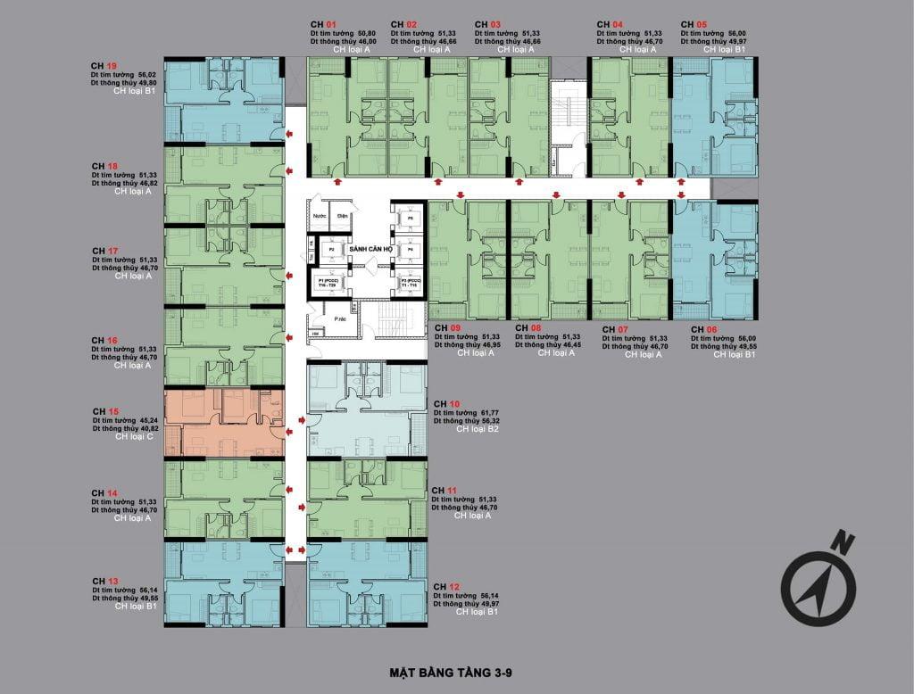 Mặt bằng tầng 3-9 Bcons Sala