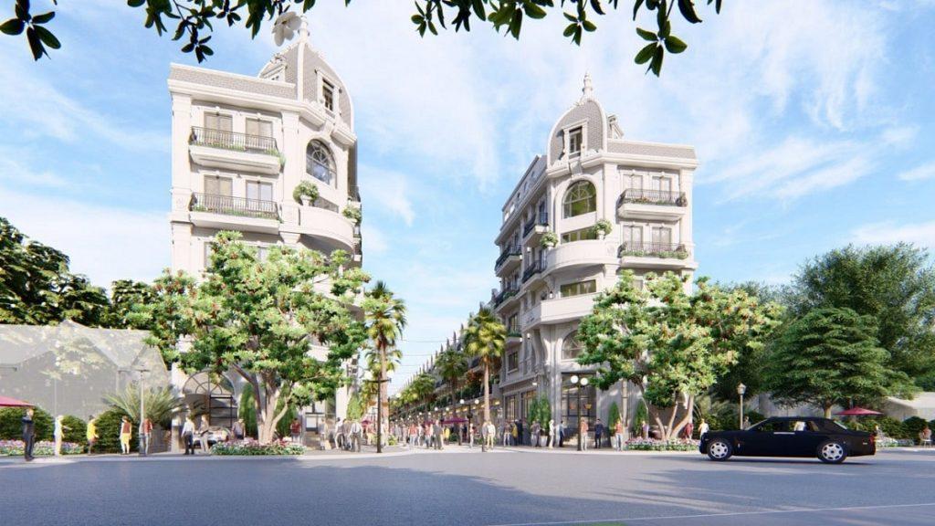 Từ đường Nguyễn Xiển nhìn vào là 2 căn Shophouse lớn nhất của dự án 52 Nguyễn Xiển