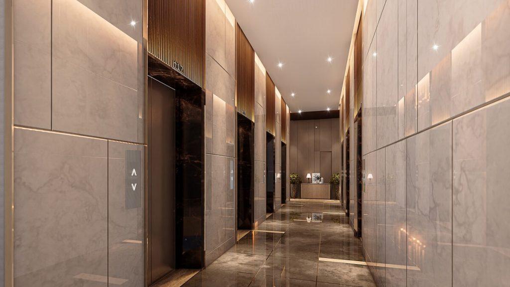 Sảnh thang máy căn hộ HT Pearl