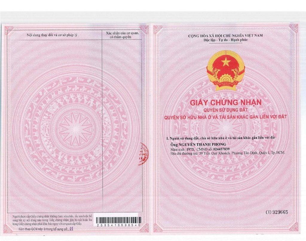 Sổ hồng nhà phố 52 Nguyễn Xiển