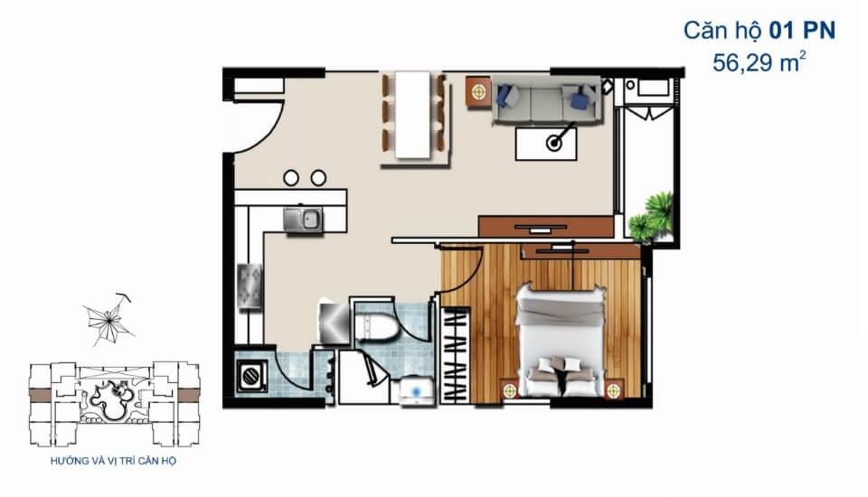 Thiết kế căn hộ 1PN De Capella