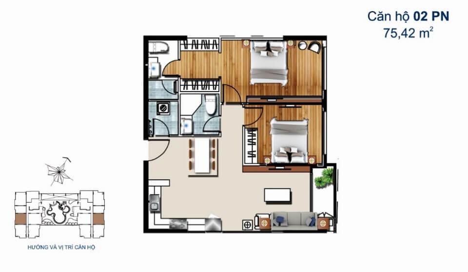 Thiết kế căn hộ 2PN 75m2 De Capella