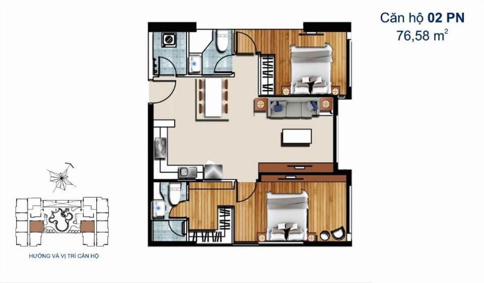 Thiết kế căn hộ 2PN 76m2 De Capella
