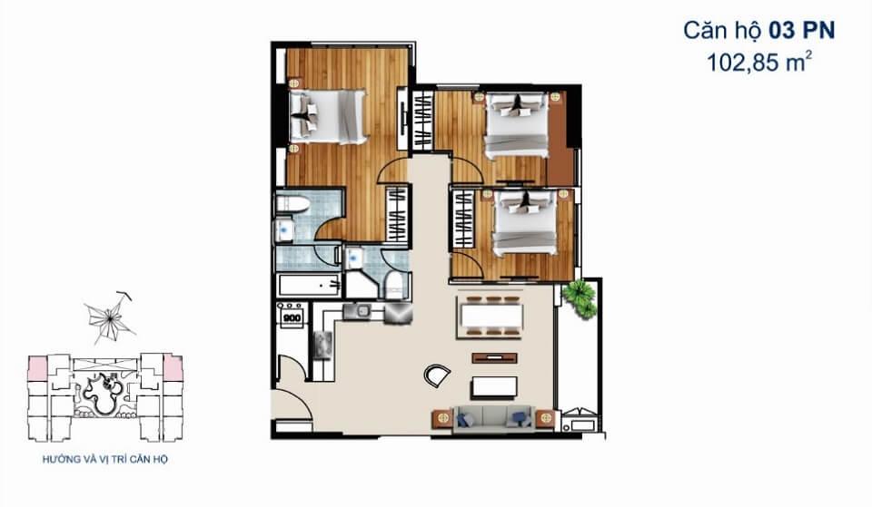 Thiết kế căn hộ 3PN De Capella