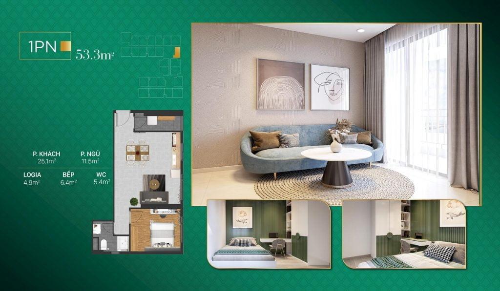 Căn hộ 1PN diện tích 53 m2 chỉ có 1 căn / 1 sàn