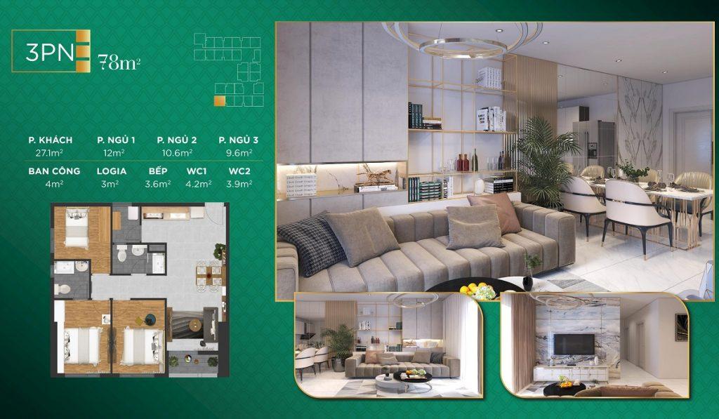 Căn hộ 3PN: 113 căn diện tích từ 77 m2 - 141,1 m2